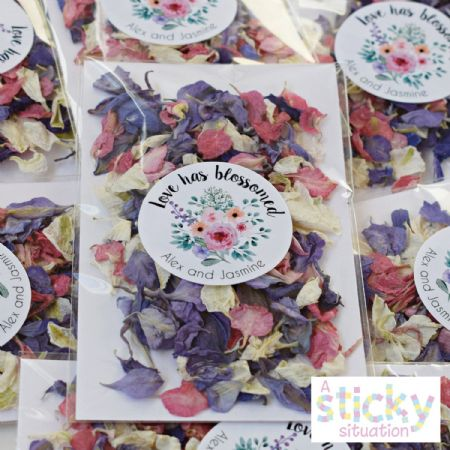 Personalised Individual Real Delphinium Petal Confetti Packs - Candy Colours Mix
